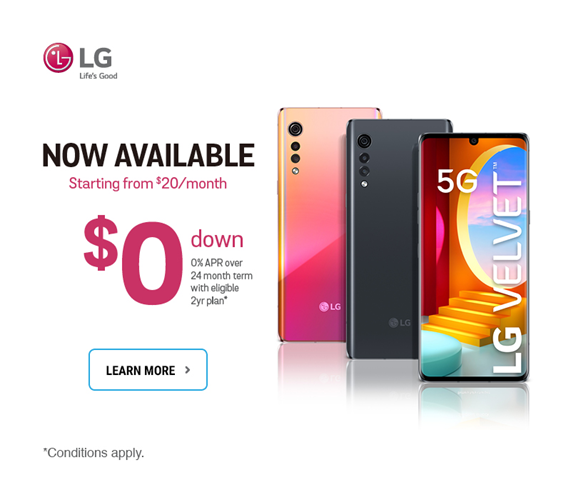 Get the new LG Velvet 5G starting from $20 per month on a 24-month term.