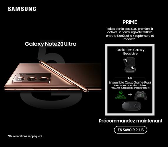 Les 15000 premiers à activer un Samsung Galaxy Note20 Ultra avant le 4 septembre recevront un bonus.