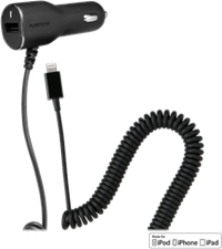 PureGear Car Charger with Additional USB Port for Lightning Devices