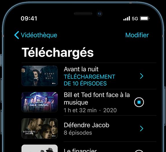 Image d'iPhone 12 Pro avec écran de téléchargement vidéo
