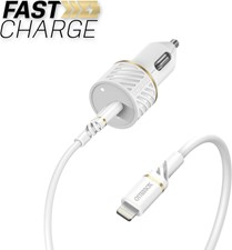 OtterBox - Fast Charge PD Car Charger USB-C 20W w/Lightning Cable 3.3ft - Cloud Dust