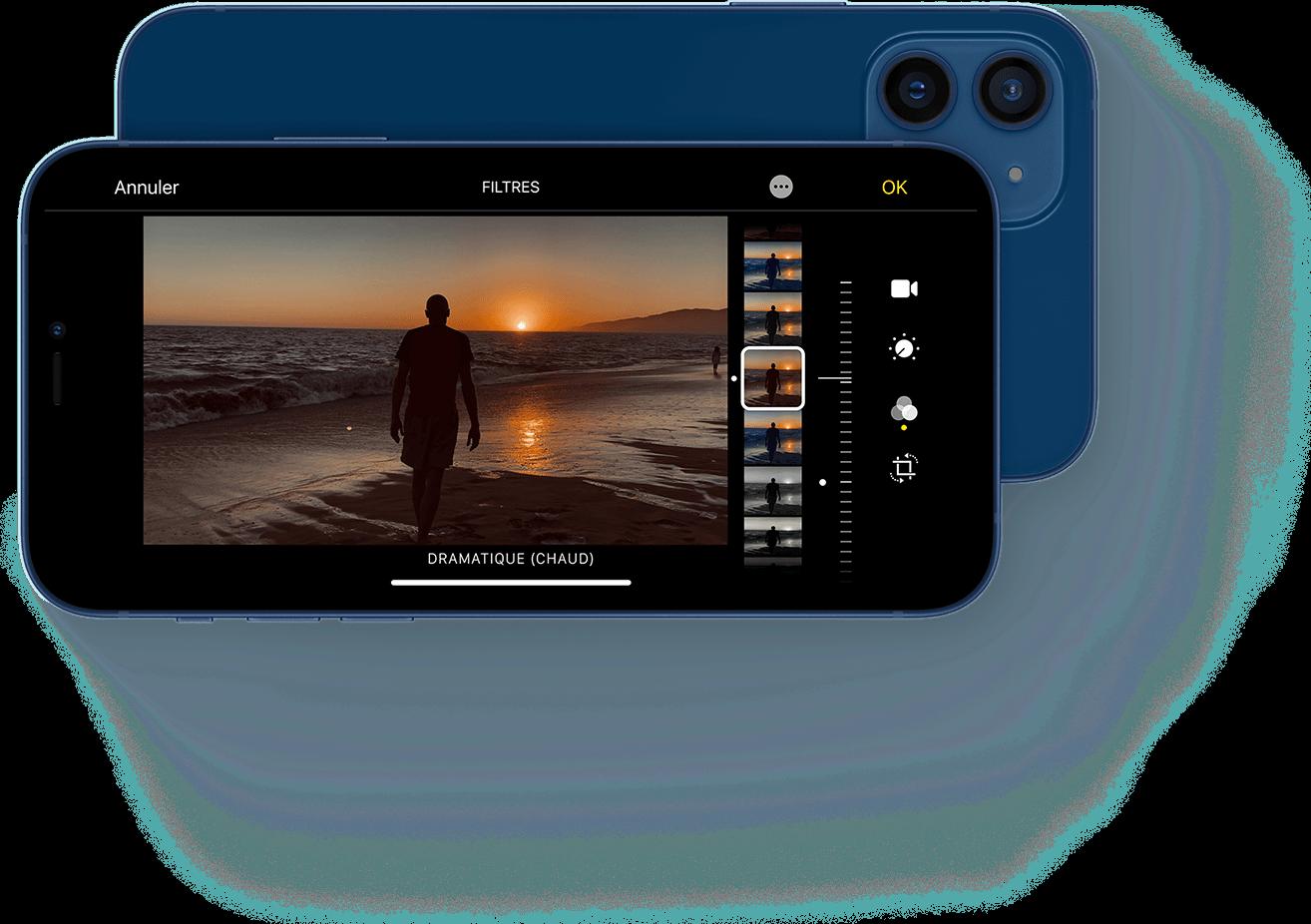 Image de différents filtres sur iPhone 12