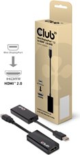 Club3D Club 3D - MiniDisplayPort 1.2 Male to HDMI 2.0 Female 4K 60HZ UHD/3D Active Adapter Black