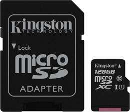 Kingston UHS-I Class 10 128GB microSDHC Canvas Select Flash Card