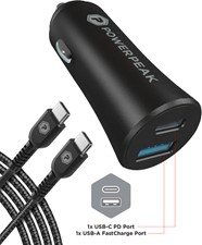 PowerPeak Dual Port Fast Charge PD Car Charger w/USB-C to USB-C