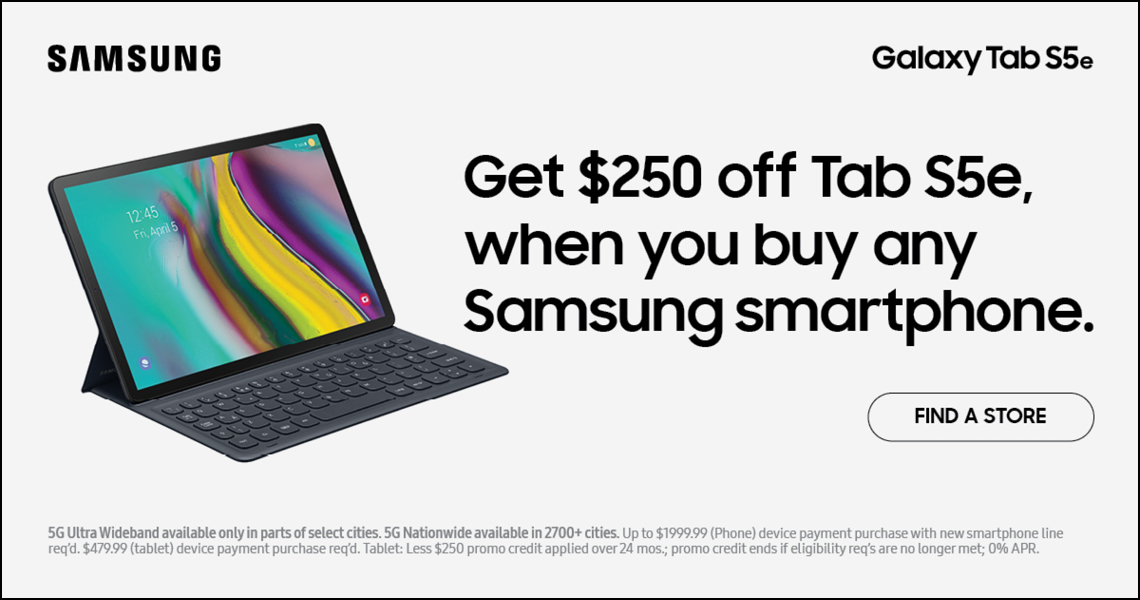 Get $250 off Galaxy Tab S5e tablet w/ Samsung smartphone purchase
