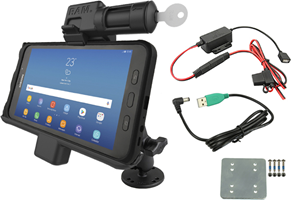 RAM Mounts RAM Black Key Lock Dock For Samsung Tab Active2 w/ Backing Plate and Hardwire Charger