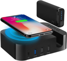 Naztech 50W Ultimate Power Station AFC USB C Wall Charger w/ Qi + 4000 mAh Portable Power Bank