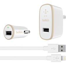 Belkin 2.4A USB Home/Car Charger with Lightning Bundle