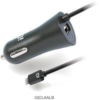 iQ Lightning Charge & Synchronize In-Car Charger- Built-In 1.2M Coiled Cable