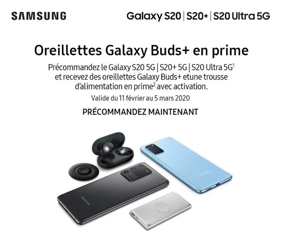 Précommandez le nouveau Galaxy S20 5G et obtenez une Galaxy Buds ainsi qu'une trousse d'alimentation