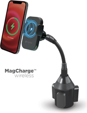 PowerPeak 15W Wireless MagCharge Car Cup Mount Holder with Magnetic Auto-Alignment