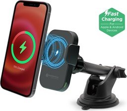 PowerPeak 15W Wireless MagCharge Car Dash/Vent Mount Holder with Magnetic Auto-Alignment