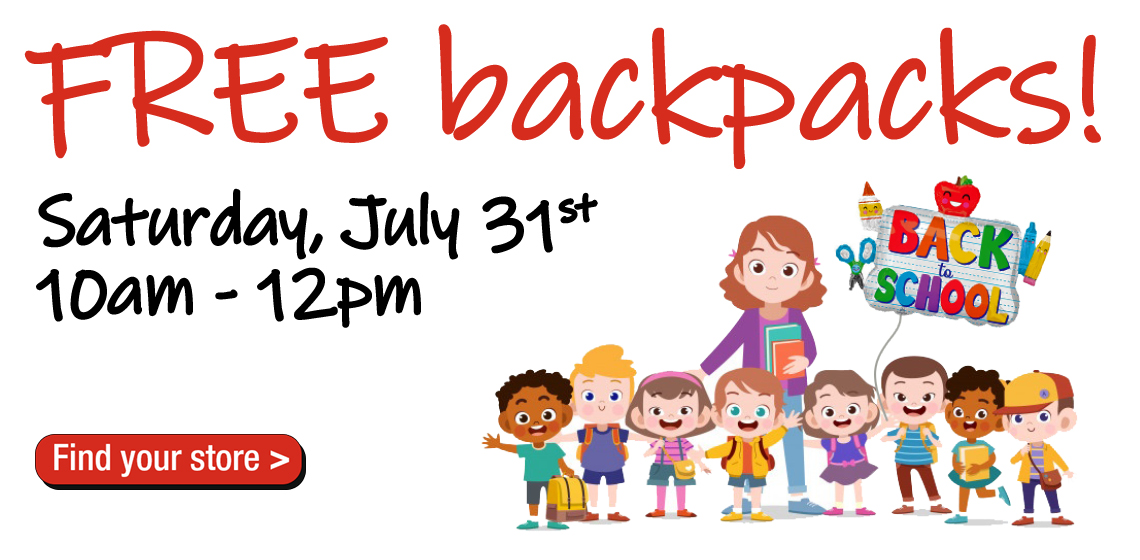 Free Backpacks filled with school supplies will be available at your local Verizon-Cellular Plus.