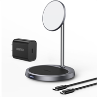 CHOETECH 20W 2-in-1 Magnetic Wireless Charger Stand & Pad (Magsafe Compatible) w/30W Power Adapter