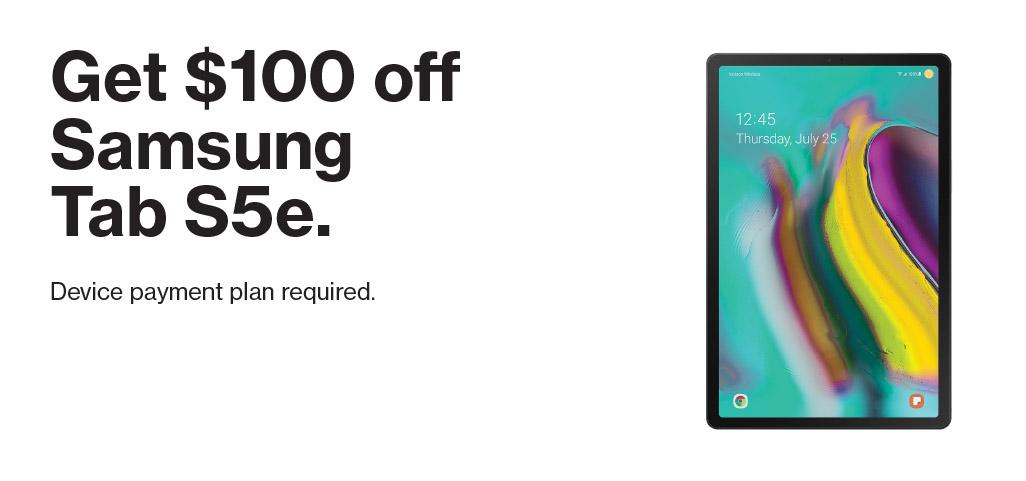 Get $100 off Samsung Tab S5e