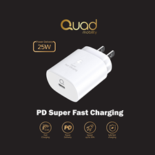 Quad Super Fast PD25W Charger Adapter White