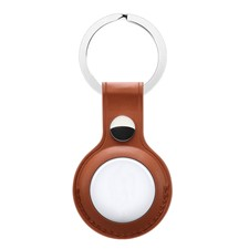 Quad Apple AirTag Leather Key Ring Brown