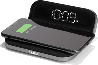 iHome - Compact Alarm Clock w/Qi Wireless and USB Charging