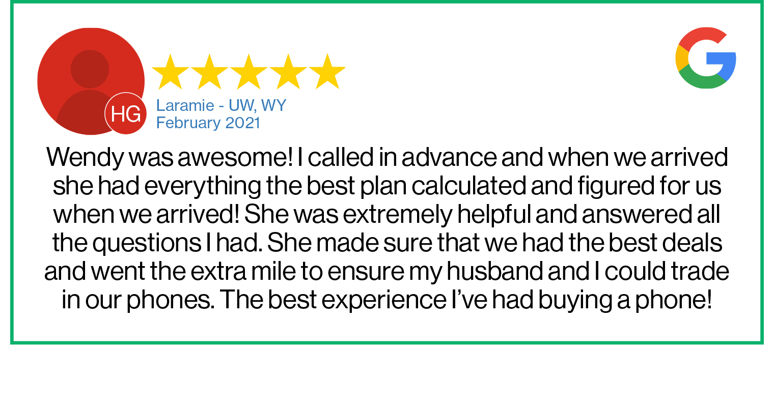 Check out this recent customer review about the Verizon Cellular Plus store in Laramie, WY