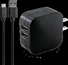 KEY 3.4A Dual Port USB-C Wall Charger