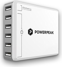 PowerPeak Adaptive Fast Charge 3.0 6 port USB Charger (With 75% Fast Charge)