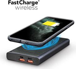 PowerPeak Power Peak 2-in-1 Portable Fast Charge Wireless Charger and Battery Pack 10,000 mAh