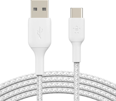 Belkin BOOST↑CHARGE™ Braided White USB-C to USB-A Cable 6ft