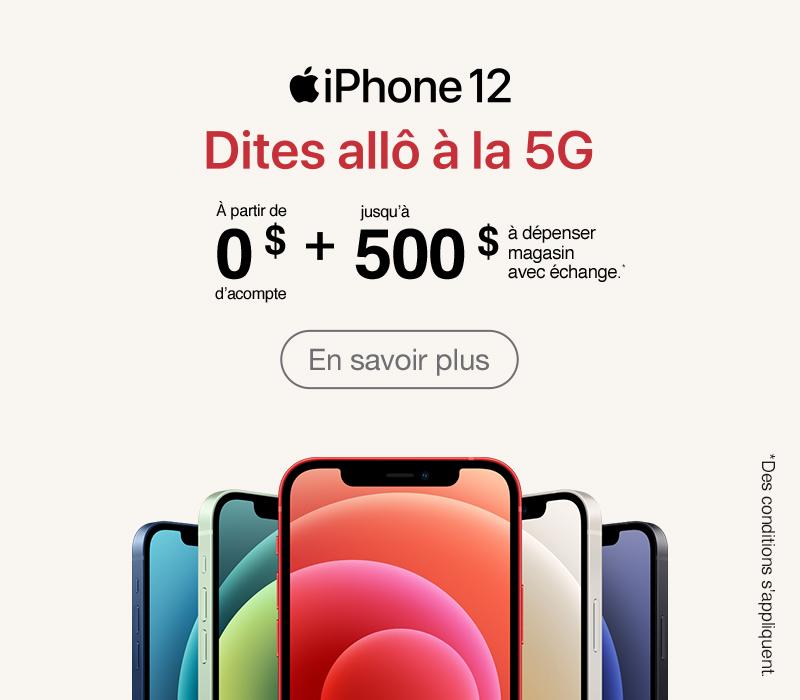 Échangez et économisez jusqu'à 500 $ sur un nouvel iPhone 12.