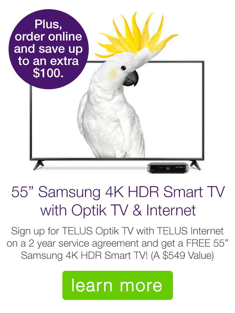 """55"""" Samsung 4K HDR TV with Optik TV & Internet"""