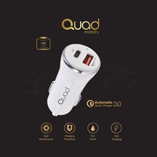 Quad Charge PD 18W Car Charger White
