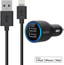 Belkin Dual-Port USB Car Charger & 4' Lightning Cable