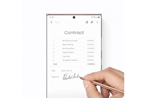 Image of the S Pen writing on the Samsung Note20 Ultra 5G