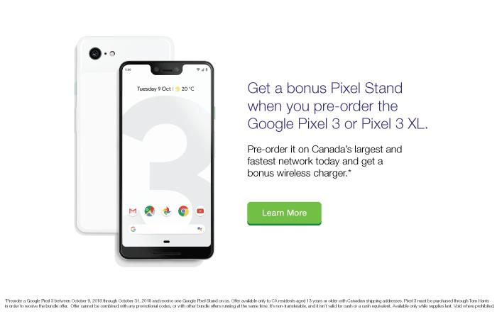 Google Pixel 3 Pre-Order Tom Harris TELUS