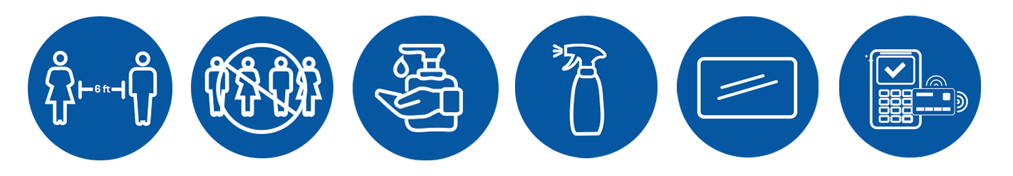 Six icons for the safety measures we are taking.