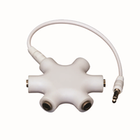 Helix Retractable Headphone Audio Splitter w/2.6 inch Cord