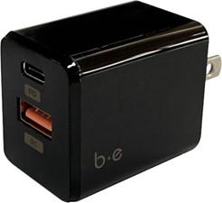 Blu Element - Wall Charger USB-C 20W PD and USB A Bulk - Black