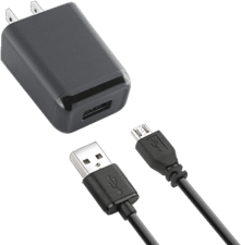 KEY Wall Charger (2 Piece) 2.4A Single Micro USB - Black