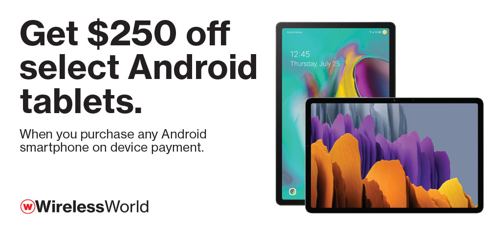 Get $250 off select Android tablets w/ smartphone purchase