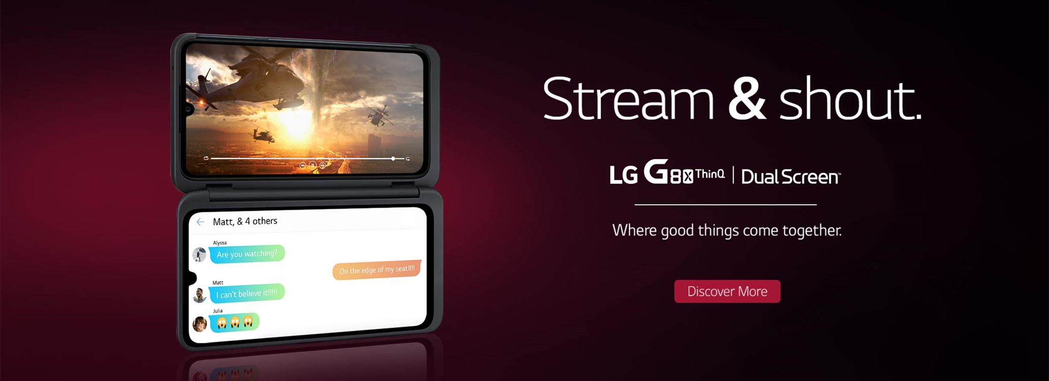LG G8x phone with dual screen, video streaming on one and messaging on other.