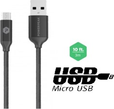 PowerPeak 10ft. Metallic Micro USB Charge & Sync Cable